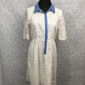 🍀I Heart Ronson Spring Eyelet Collar Ivory Dress
